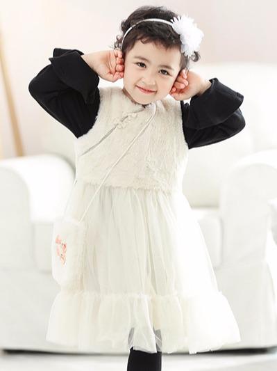 毛绒网纱公主裙