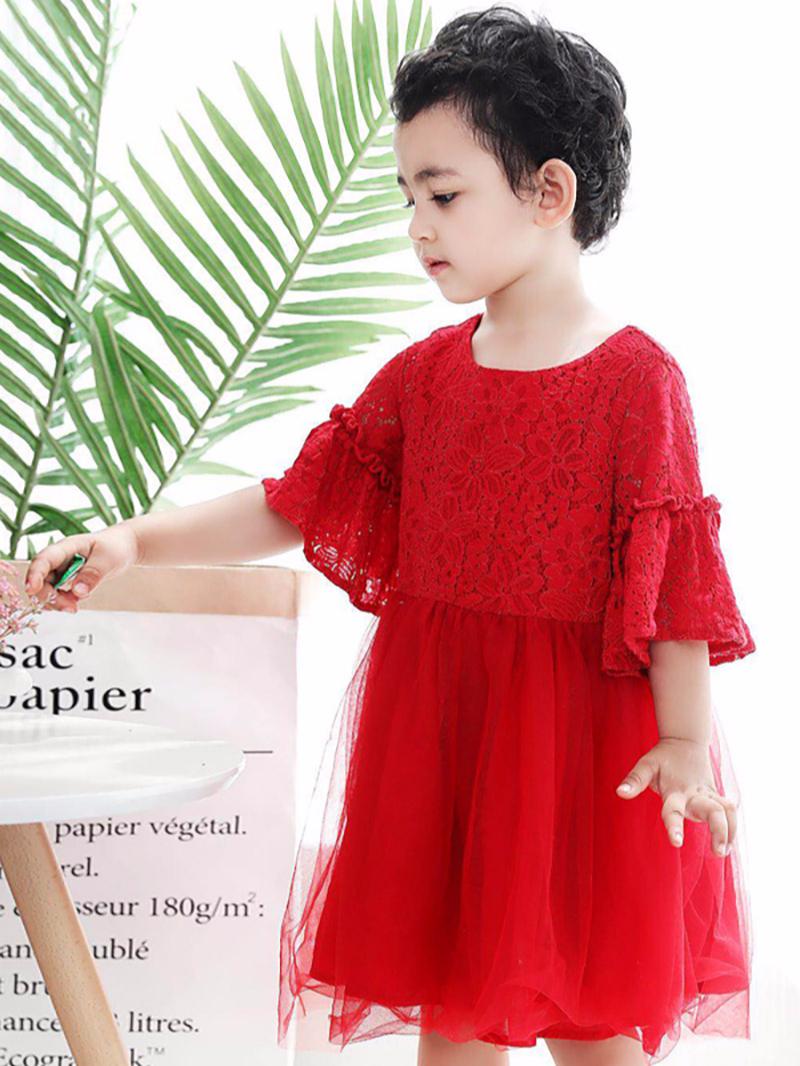 红色蕾丝公主裙